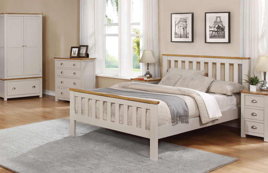 grey bed with oak barnstaple offer