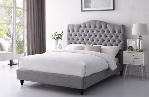 grey fabric bedstead, buttoned fabric bed, grey bed sale, grey bed in stock