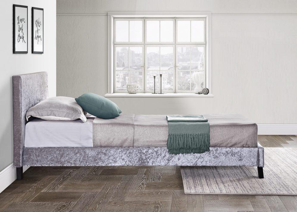 Crush Velvet Silver Frame, Grey bed frame, sale bed barnstaple, sale beds northdevon, crush velvet silver, cheap crush velvet beds barnstaple