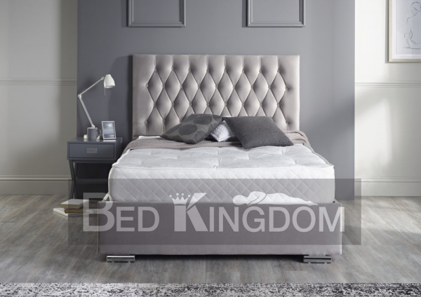 Button back fabric bed frame, fabric bed frame Barnstaple North Devon. Grey fabric bed , grey fabric bedstead Barnstaple