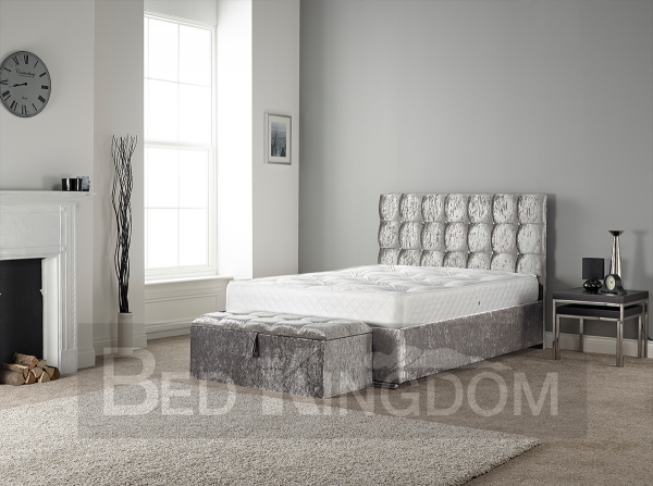 Cube shaped Fabric bedstead, Fabric bed crush velvet silver. button back bed frame, fabric frame, fabric bed, crystals, cubed headboard frame